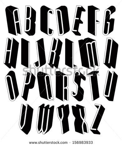 Black And White Tall 3d Font, Single Color Simple Thin And