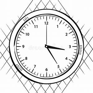 Wall clock sketch stock illustration. Image of drawing ...