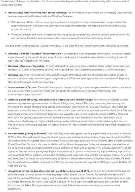 Anniversary 10 Windows Update Feature List