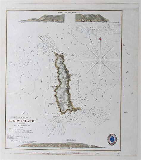 antique chart  lundy island  lieutenant denham