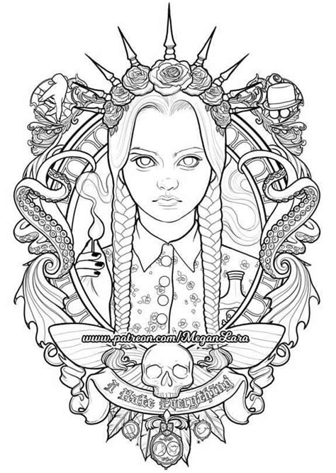 Wednesday | Cartoon coloring pages, Free adult coloring pages, Coloring pages