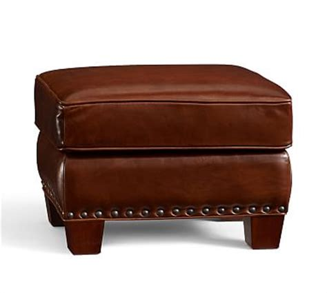 pottery barn ottoman irving leather storage ottoman with nailheads pottery barn