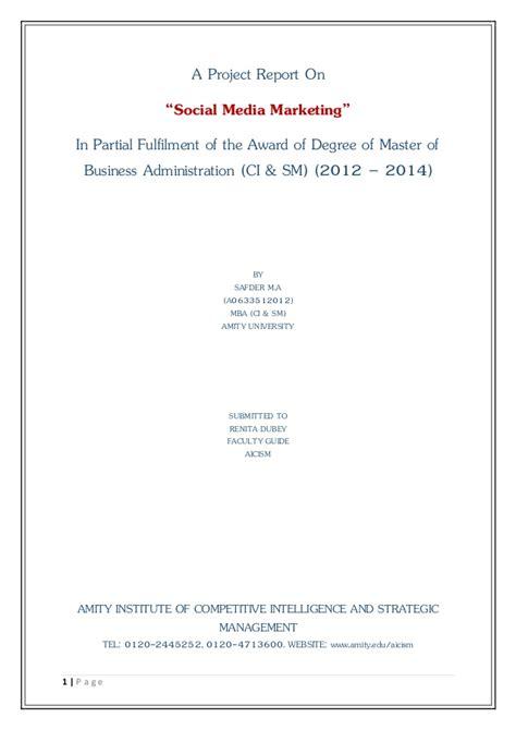 social media masters degree a project report on social media marketing