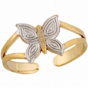 Two Toned 14k Real Gold Cute Small Butterfly Ladies Toes