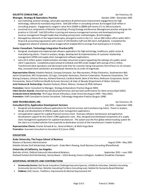 Deloitte Resume Exles by Deloitte Consulting Resume Images