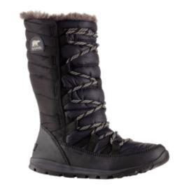 sorel womens whitney lace winter boots black sport chek