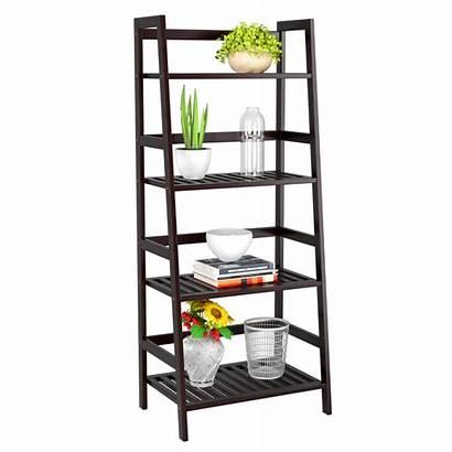 Ladder Bookcase Shelf Bamboo Shaped Homfa Flower
