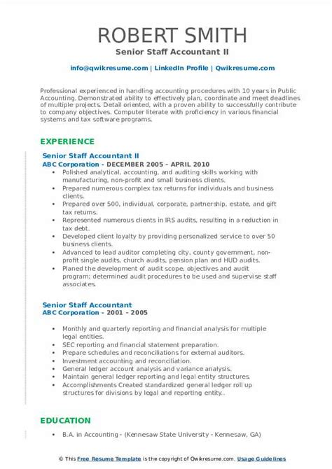 senior staff accountant resume samples qwikresume