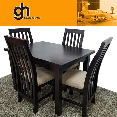 juego comedor mesa  sillas muebles de madera gh