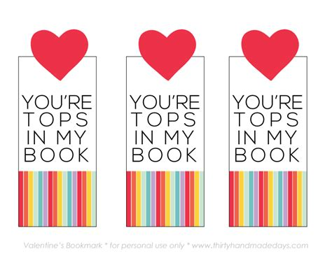 printable valentines day gift youre tops   book