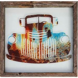 Rustic Framed Glass 'Old Truck' Wall Decor Our