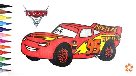 Cars 3 How to color Lightning McQueen Coloring pages