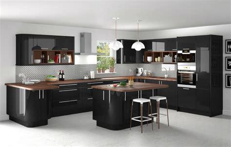 cuisine noir plan de travail bois cuisine et bois moderne et élégante