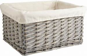 Corbeille En Osier : corbeille de rangement en osier gris et coton ~ Teatrodelosmanantiales.com Idées de Décoration