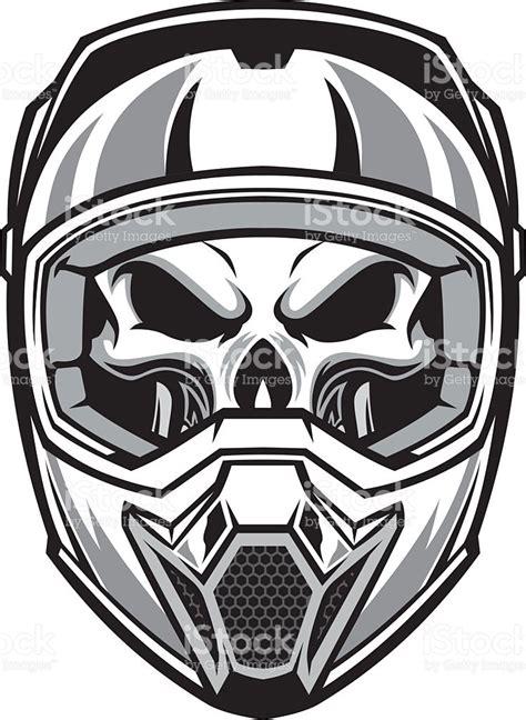 skull motocross helmet skull wearing motocross helmet stock vector art 531109451