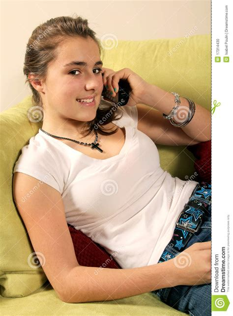 Teen Talking On Phone Stock Photo Image