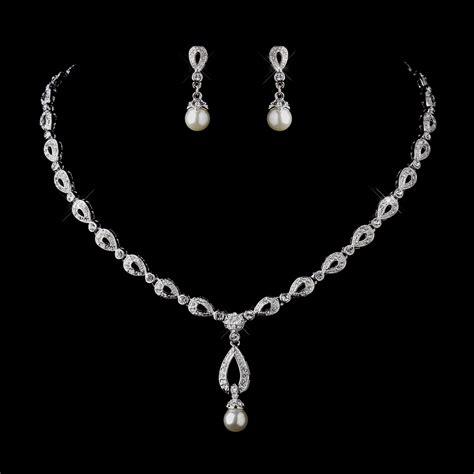 rhinestone flower bracelet stunning silver ivory drop pearl bridal jewelry set