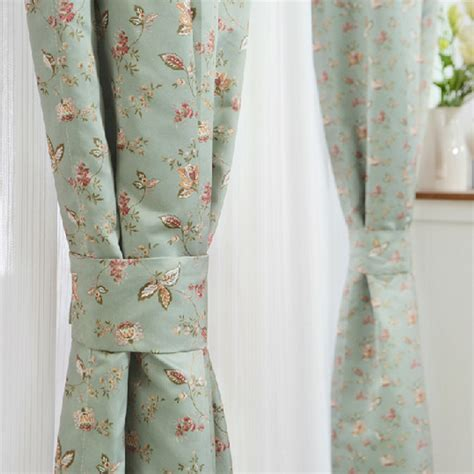 custom green small floral shabby chic curtains