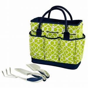Gardening tote with garden tools trellis green for Gardening tote