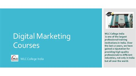 digital marketing college courses digital marketing courses by wlc college india