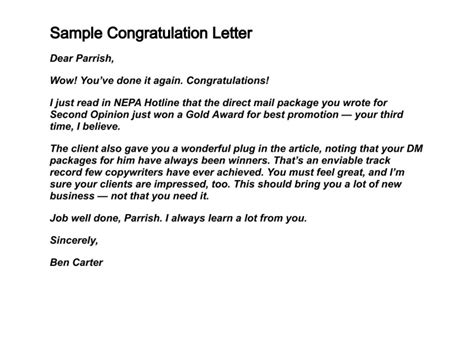 write congratulation letters