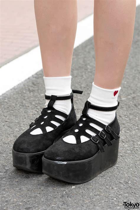 denim mini dress twintails tokyo bopper shoes  harajuku