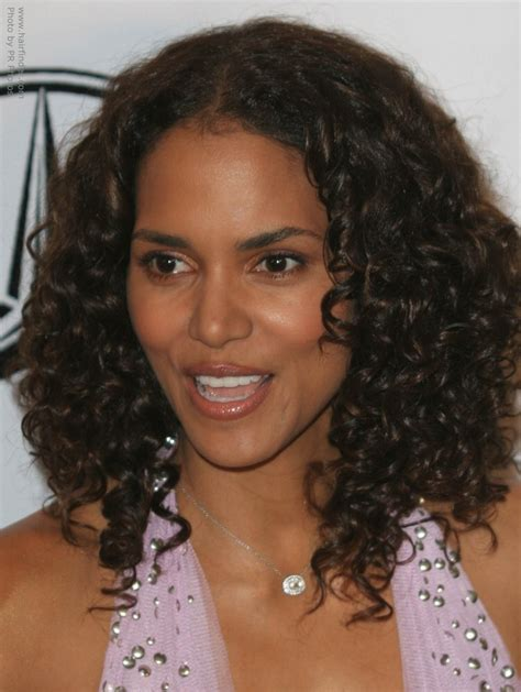 halle berrys long hair  small spiral curls