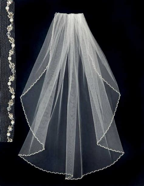 Wedding Veil With Pearls And Crystal Beads Fingertip