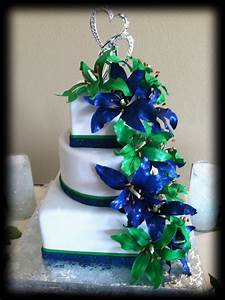 Navy Blue and Green Wedding cakes | Wedding cake with ...
