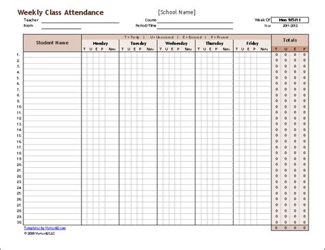 School Register Template Spreadsheet by Free Attendance Tracking Templates And Forms