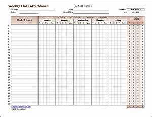 download the weekly class attendance template from With templates by vertex42 com