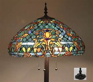 tiffany style stained glass floor lamp quotazure seaquot w 20 With tiffany style stained glass floor lamp granduer w 20 shade