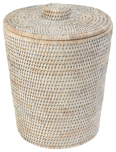 Wicker Bathroom Trash Can With Lid by La Jolla Rattan Waste Basket With Plastic Insert