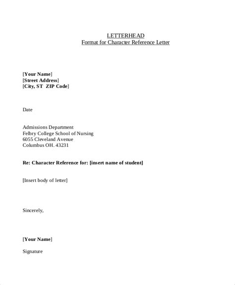 sample character reference letters  word pages