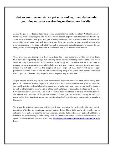 emotional support animal letter world