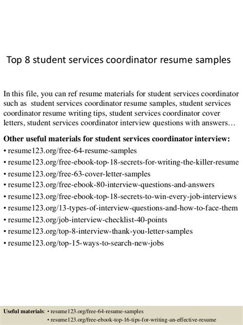 resume objective student services coordinator top 8 student services coordinator resume sles