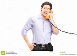 A Male Talking On A Telephone Stock Photo - Image of ...