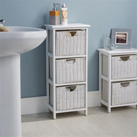 White Bathroom Drawer Unit by Store White Wood Wicker Style Bathroom Drawer Unit 3