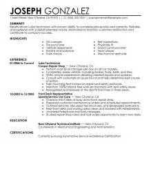 free resume templates for auto mechanic resume exles templates best automotive technician resume exles lube technician resume