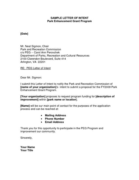 Rfp Letter Of Intent Template by Grant Letter Of Intent Sle