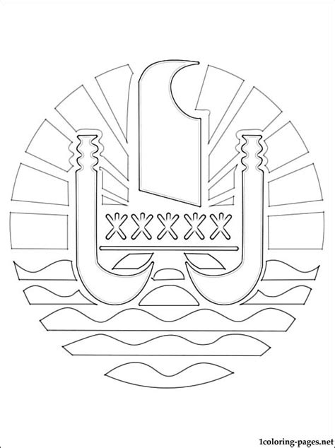 french polynesia coat  arms coloring page coloring pages
