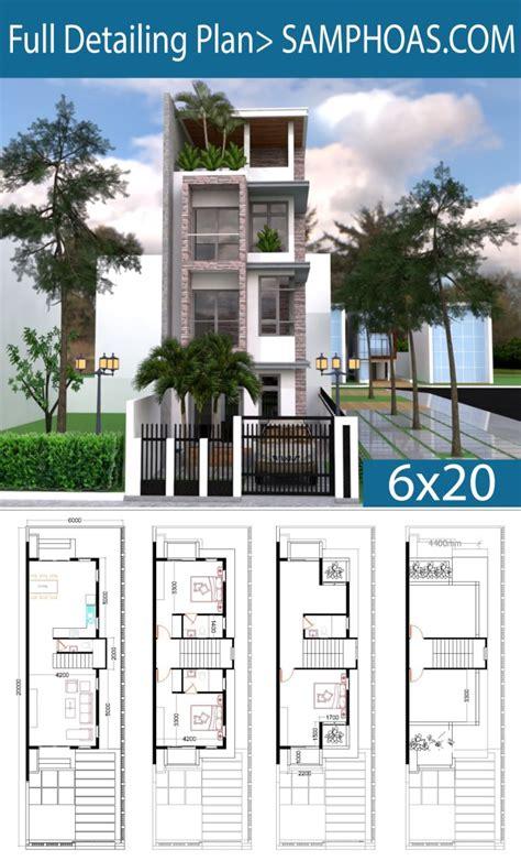 narrow lot house plans  bedrooms house    meter samphoas plan
