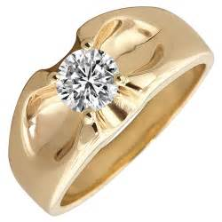 mens belcher diamond solitaire ring in 14kt yellow gold 1ct