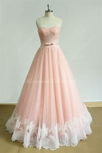 Flowy Blush A line lace wedding dress with sweetheart ...