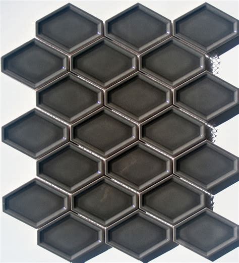elongated hex tile lyric lounge collection elongated hex tile concave in ferrous gray