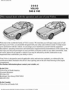 02 Volvo S40 2002 Owners Manual