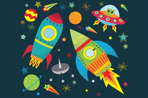 outer space clipart outer space clipart illustrations on creative market