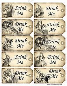 Drink me tags alice in wonderland printable gift by for Alice in wonderland tags template