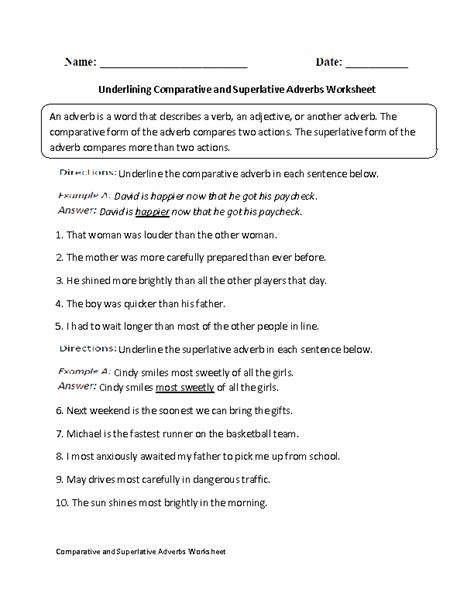 adverbs worksheets comparative and superlative adverbs