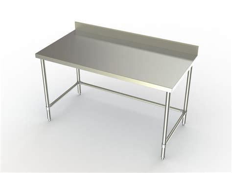 Stainless Steel Table With Backsplash : Work Tables W/ Stainless Steel Cross Brace